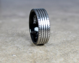free custom engraving 8mm black tungsten band with flat edge tire tread pattern ring 8mm - Mud Tire Wedding Rings