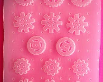 14pc Gears and Wheels Steampunk Flexible Plastic Mold For Resin Crafts Polymer Clay