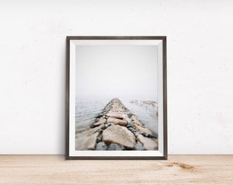 Foggy Morning New England Beach with Rocks in Winter | Connecticut | Landscape Photograph | Minimal Art | Fine Art Photography | Wall Decor