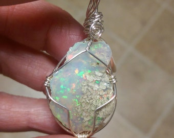 Natural, rough Ethiopian Opal sterling silver wire wrapped pendant 20 carats