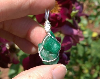 Natural, rough Emerald sterling silver wire wrapped pendant 24.3 carats