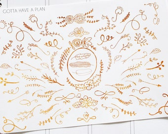 Planner Stickers Gold Doodle for Erin Condren, Happy Planner, Filofax, Scrapbooking
