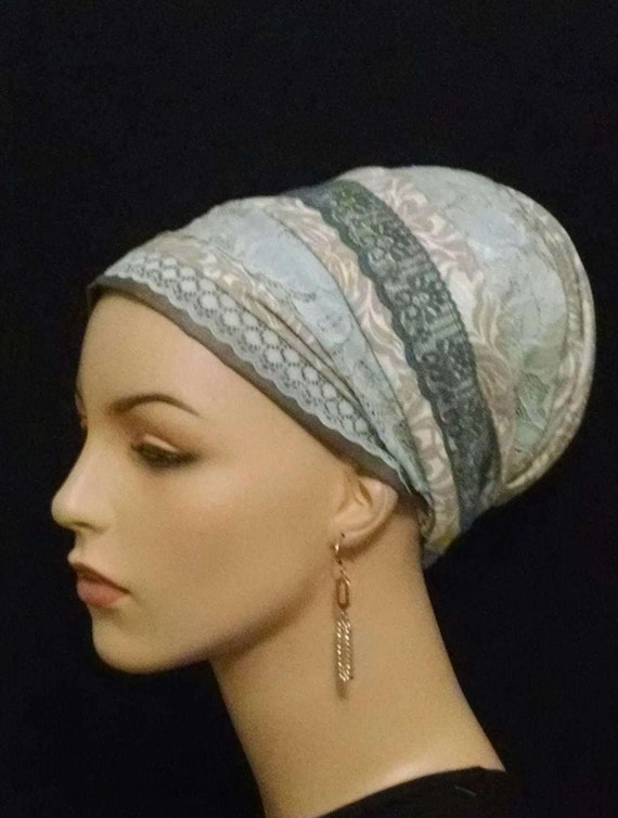 Stunning blue floral and lace Sinar tichel, tichels, apron tichels, chemo scarves, head wraps, head scarves, mitpachat