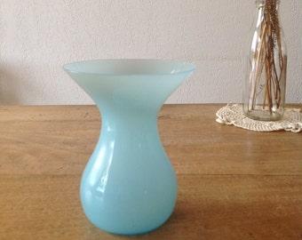 Blue opalescent vase