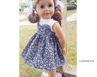 18 inch doll clothes - Sweetheart dress in Navy