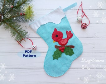 PDF Pattern - Felt Christmas Stocking Pattern Cardinal Bird applique Christmas project DIY  Instant Download Sewing Tutorial