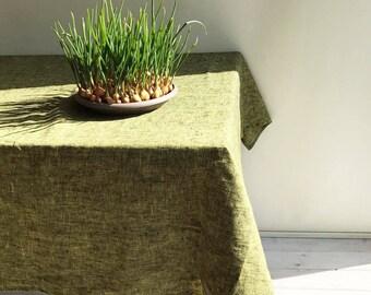 Linen Tablecloth In Lemon Green/Yellow, Green Tablecloth, Yellow Tablecloth,  Green Linen