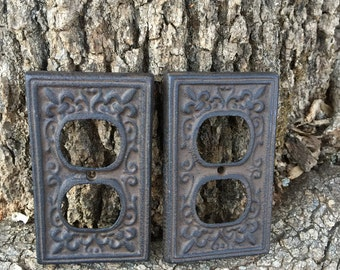CLEARANCE/Cast Iron plug cover/Outlet Cover/Plug Cover/Cast Iron/Outlet Cover/Plug Plate/Decorative Cover/Ornate Plug Cover/Rustic Cover