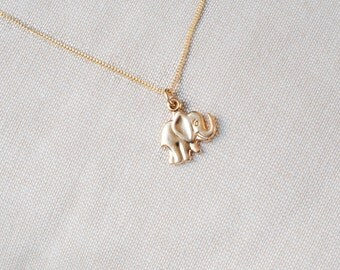 Tiny Elephant Necklace Gold Plated Chain Necklace, Lucky Elephant Charm Necklace, Gold Plated Necklace Small Elephant Pendant Lucky Necklace