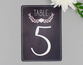 Pack of 11 Chalkboard Wedding Table Numbers - Dusky Romance