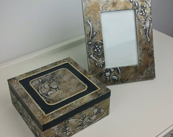 Handmade Decoupage Vintage Box and Picture Frame
