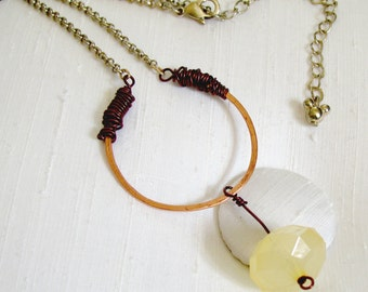 Wire-Wrapped Copper Open Circle Necklace ~ Yellow Faceted Acrylic Dangle ~ Recycled Disney Icon Bead Chain Extender - 17-20 inches