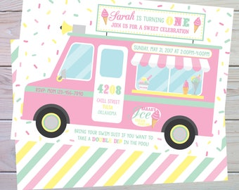 Ice Cream Party | Ice Cream Party Invitation | Ice Cream Birthday | Ice Cream Truck | Girl Ice Cream Shoppe | Printable | The Party Darling