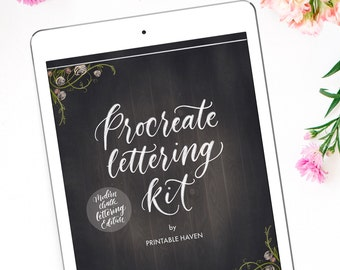 Procreate brush and lettering kit for the iPad Pro, Modern Chalk Lettering Edition, Calligraphy kit for the iPad Pro, Procreate App.