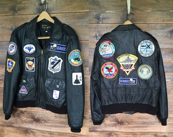 Vintage Leather Pilot/Bomber Jacket with Patches