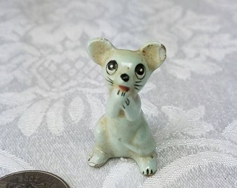 Vintage Miniature Mouse Figurine, Miniature Gray Mouse Figurine, Standing Mouse Figurine Ceramic China Mouse  Mid Century Mouse