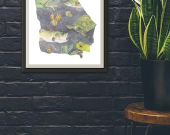 Dark Georgia State Print- State Amphibian, Reptile, Fish, & Crop Pattern
