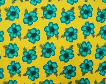 "Designer Fabric, Floral Print, Yellow Fabric, Home Accessories, Sewing Decor, Craft Fabric, 40"" Inch Cotton Fabric By The Yard ZBC6116"