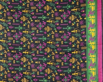 "Indian Dress Fabric, Tribal Print, Apparel Fabric, Home Decor, Sewing Crafts, Black Fabric, 44"" Inch Rayon Fabric By The Yard ZBR155"
