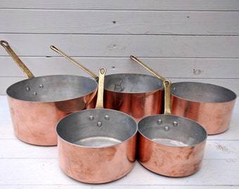 French Copper Pans Set of 5, Vintage French Copperware, Copper Pan, Copper Cookware, Copper Saucepans, Farmhouse Kitchen Decor