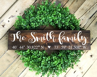 Home Coordinates Sign, GPS Coordinates Sign, Family Name Sign, Personalized Sign, Wedding Gift, Housewarming Sign, Latitude Longitude Sign