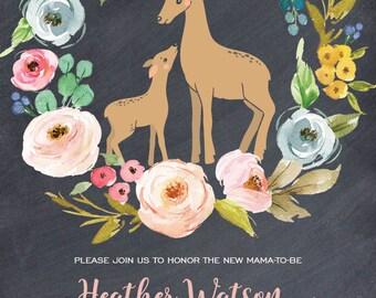 Mama Deer and Baby Shower Invitation