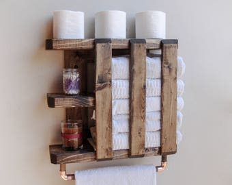 Wood Towel Rack, Rustic Shelving, Bathroom Towel Bar