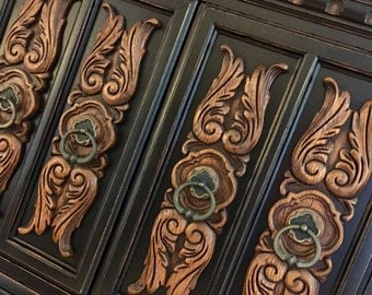 SOLD ** Hand Painted | Ornate | Armoire | Chest of Drawers | Highboy | Storage