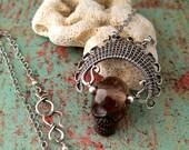 Ancestor Pendant, Smoky Quartz Skull, Skull Pendant, Tribal Skull Pendant, Silver Wire Wrapped Pendant, Door 44 Jewelry, Made in Colorado