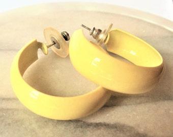 Vintage Yellow Enamel Hoop Earrings, Lemon Yellow Enamel Silver Tone Wide Pierced Hoops, Summer Earrings, Estate Jewelry, Gift For Her,1970s