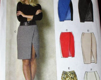 Vogue Easy Options pattern, V8928, misses skirt, semi-fitted, straight/mock wrap skirt, back zippered and front slit, sz: 6, 8, 10, 12, 14