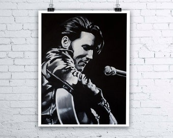 Elvis Presley Painting - Giclee Fine Art Print - Various sizes available - The King of Rock N Roll Music Musician Portrait