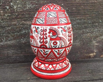 Hand Painted Easter egg, wooden egg decorated russian ornaments. Russian painting the Mezen .  Easter gift.Russian folk art.