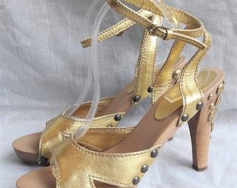 Miu Miu Gold Metallic Studded Wooden Clog Heels
