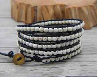 BOHO Turquoise beaded bracelet White beads bacelet 5 rows wraps bracelet Leather wrap bracelet yoga wap bracelet Bohemia jewelry SL-0476