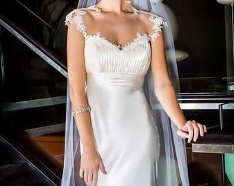Simple Wedding dress/ Keyhole Back Wedding Gown/ Beach Wedding Dress/ Satin Wedding Dress/ Casual Wedding Dress/Elegant Wedding Dress