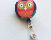 Retractable ID badge, Reel ID Badge Holder, Owl Badge Holder, Retractable Badge, Nurse Badge, Student Badge, Teacher Badge, Employee Badge