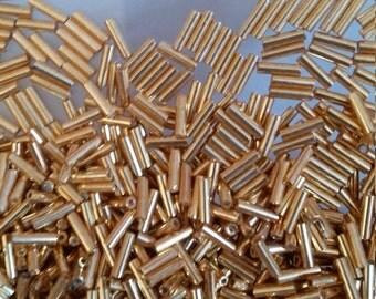 20gs Miyuki  Bugles 6mm  -  Gold