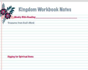 SALE JW Meeting Workbook Notes Digital Printable Stationary