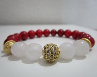 Red Coral bracelet, Bracelet, Women stone bracelet, Womens jewelry, Womens bracelet, Gift for women, Natural stone bracelet, Jewelry, Gift