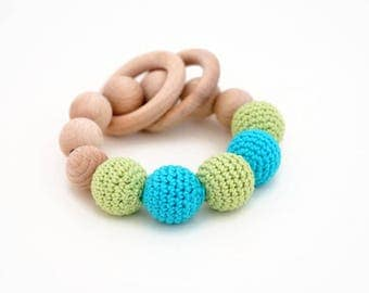Crochet teething toy, baby teether, crochet teether, crochet baby toy, teething ring, wooden teether, wooden baby toy, baby shower gift