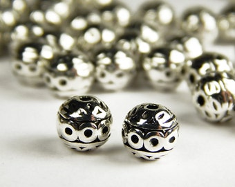 10 or 25 Pcs - 8mm Tibetan Silver Spacer Beads - Metal Spacer Beads - Silver Beads - Jewelry Supplies