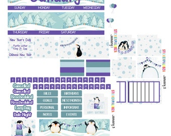 January Monthly View, January Month Stickers, January Stickers for Erin Condren Life Planner Penguin Planner Stickers