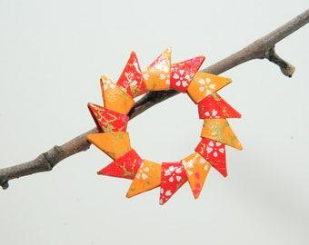 "Origami ""Sun shades of Orange"" brooch"