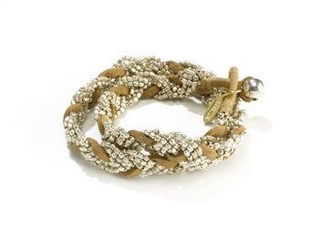 Leather Silver Boho Bracelet - Boho Wrap Silver Bracelet - Silver Gypsy Bracelet - Festival Bracelet - Ladies Wrap Bracelet - Wide Bracelet