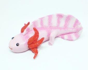 Polymer clay axolotl, axolotl figurine, axolotl sculpture, axolotl totem, axolotls