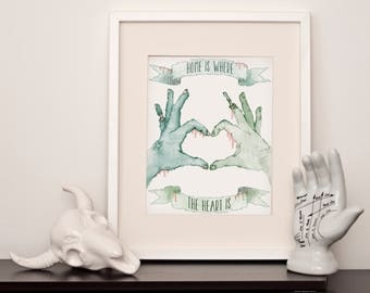 Romantic Zombie - Home Is Where The Heart Is  - A4 Art Print - International Postage