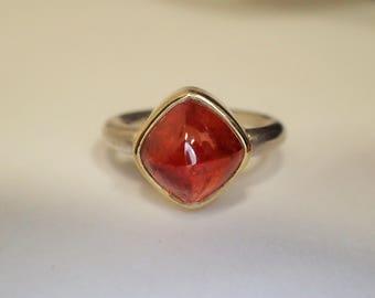 Ring Silber Gold Mandaringranat