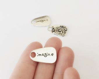 Silver Imagine Charm / 25 x 15 mm / Set of 3 Imagine Silver Pendants / Imagine Double Sided Charms / CH5