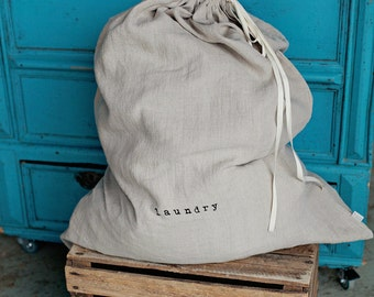 Big linen laundry bag, stonewashed linen, natural colour, hand printed.
